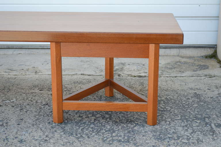 Mid-Century Long Low Solid Teak Plank Bench or Table 6