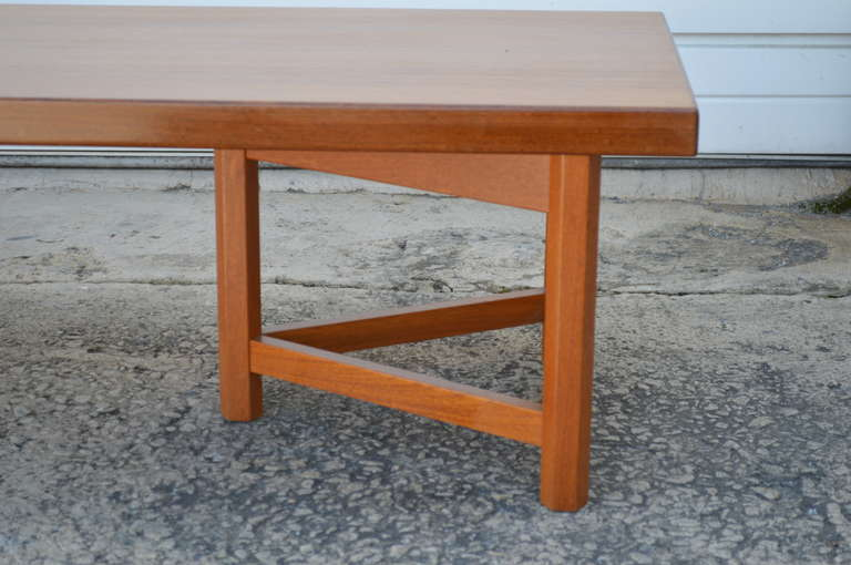 Sycamore Mid-Century Long Low Solid Teak Plank Bench or Table For Sale