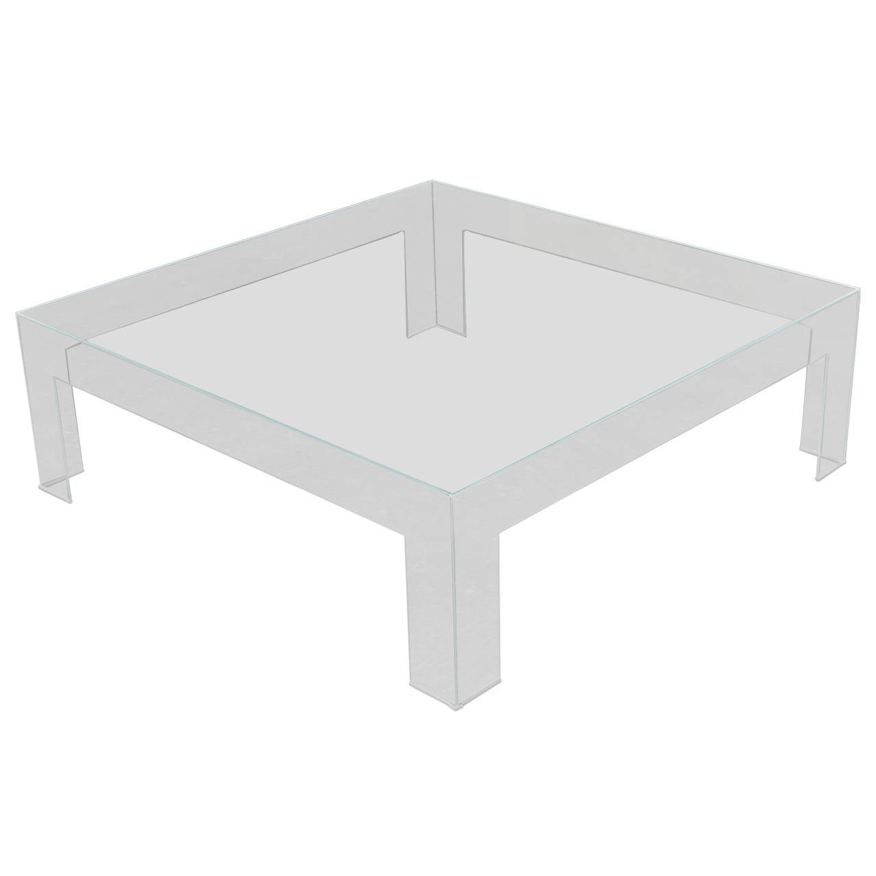 Modern Square Lucite Ghost Coffee Table 1 - Modern Square Lucite Ghost Coffee Table At 1stdibs
