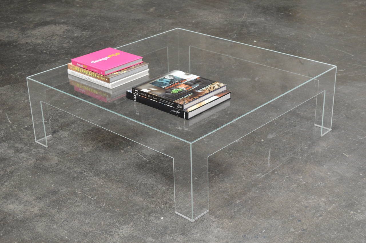 Modern Square Lucite Ghost Coffee Table Image 5