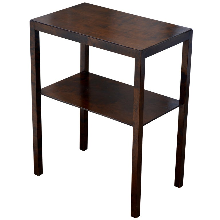 swedish art deco flame birch end or side table with shelf