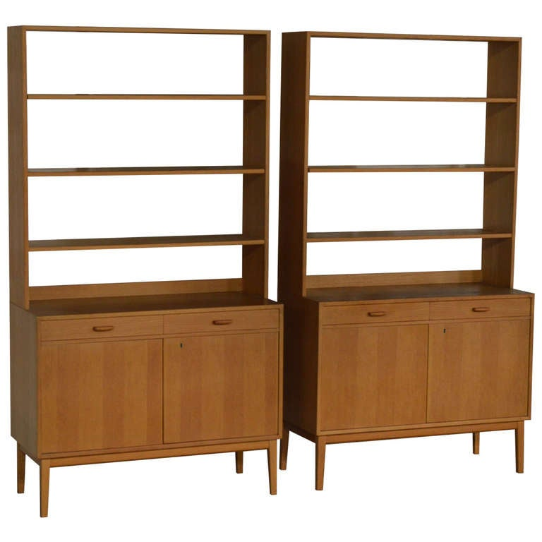Rare Pair of Swedish Mid-Century Modern Storage Bookcases ...