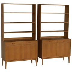 Rare Pair of Swedish Mid-Century Modern Storage Bookcases