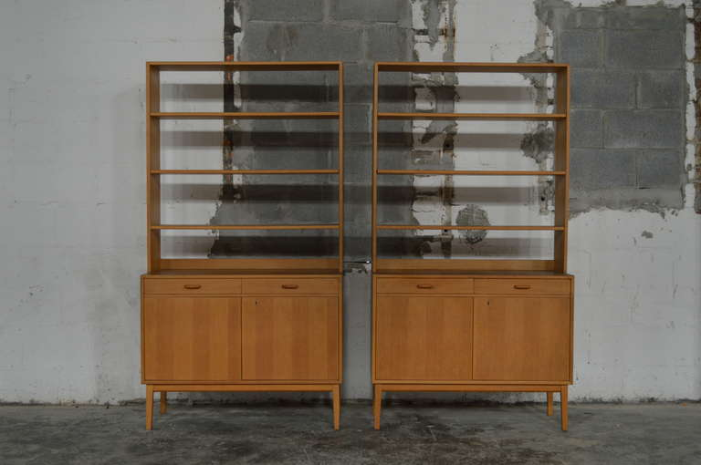 Rare Pair Of Swedish Mid Century Modern Storage Bookcases In Excellent  Condition For Sale In
