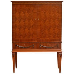 Swedish Gustavian Style Mahogany Linen or Bar Cabinet