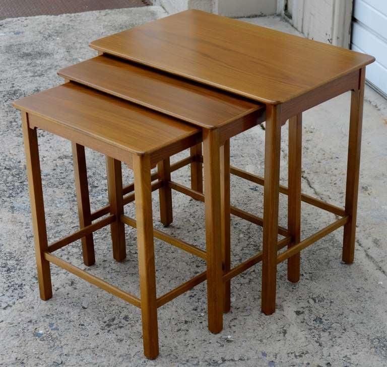 Scandinavian Modern Set of Three Swedish Modern Teak Nesting Tables For Sale
