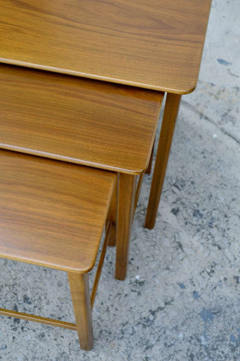 Set of Three Swedish Modern Teak Nesting Tables In Excellent Condition For Sale In Atlanta, GA