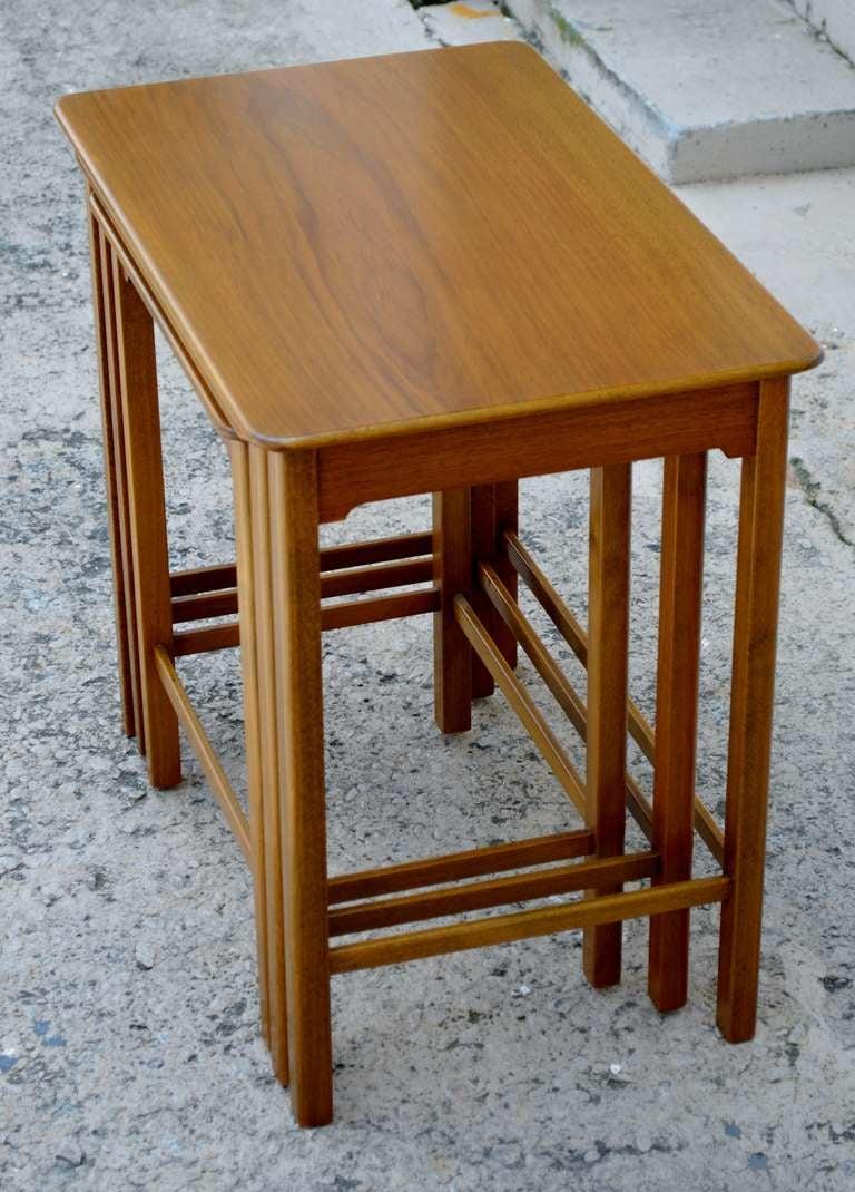 Mid-20th Century Set of Three Swedish Modern Teak Nesting Tables For Sale
