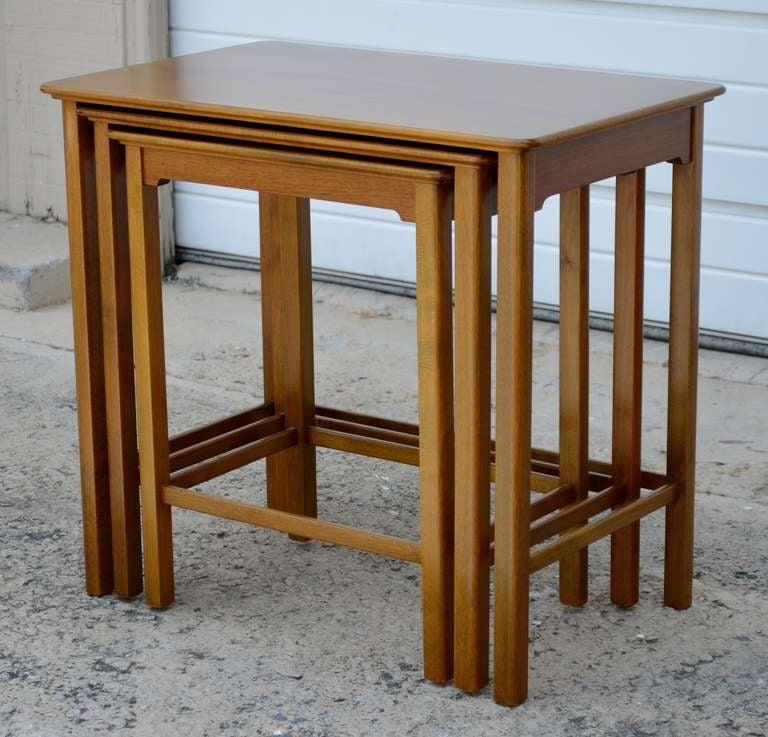 Set of Three Swedish Modern Teak Nesting Tables For Sale 1