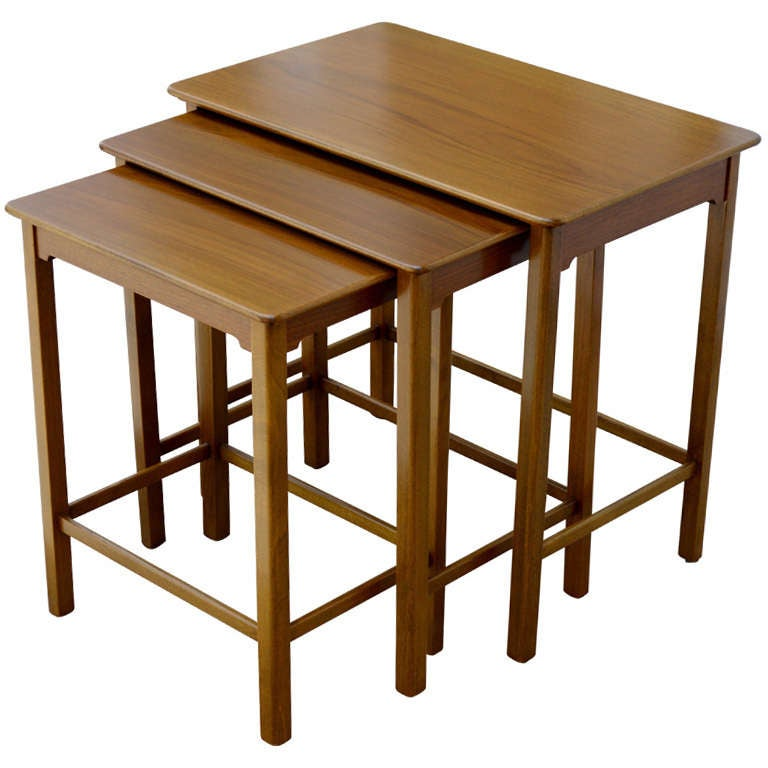 Set of Three Swedish Modern Teak Nesting Tables