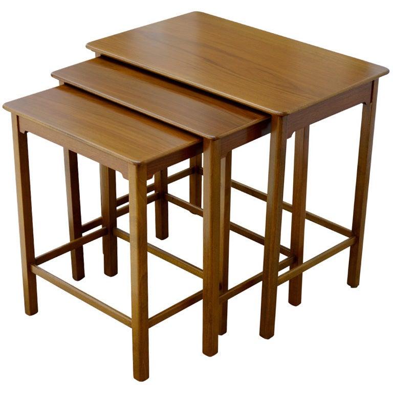 Set of Three Swedish Modern Teak Nesting Tables For Sale