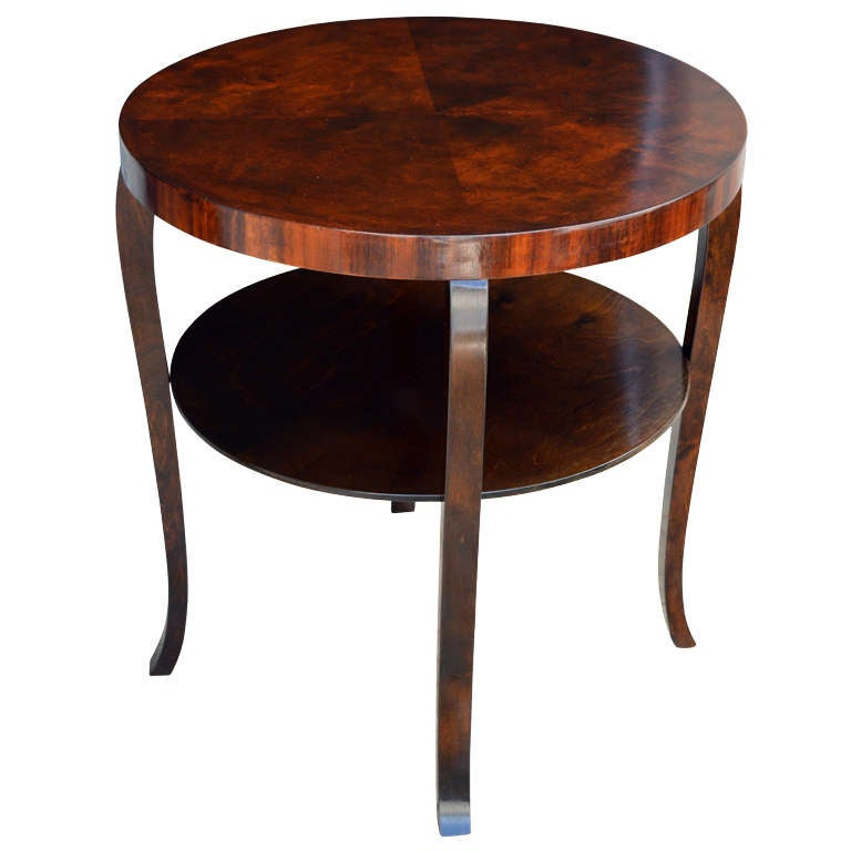 Swedish Round Art Deco Flame Birch End Or Side Table With Shelf 1