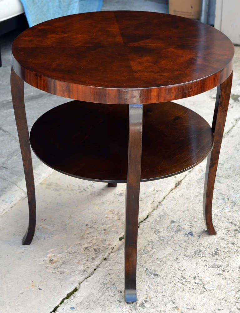 Swedish Round Art Deco Flame Birch End Or Side Table With Shelf 2