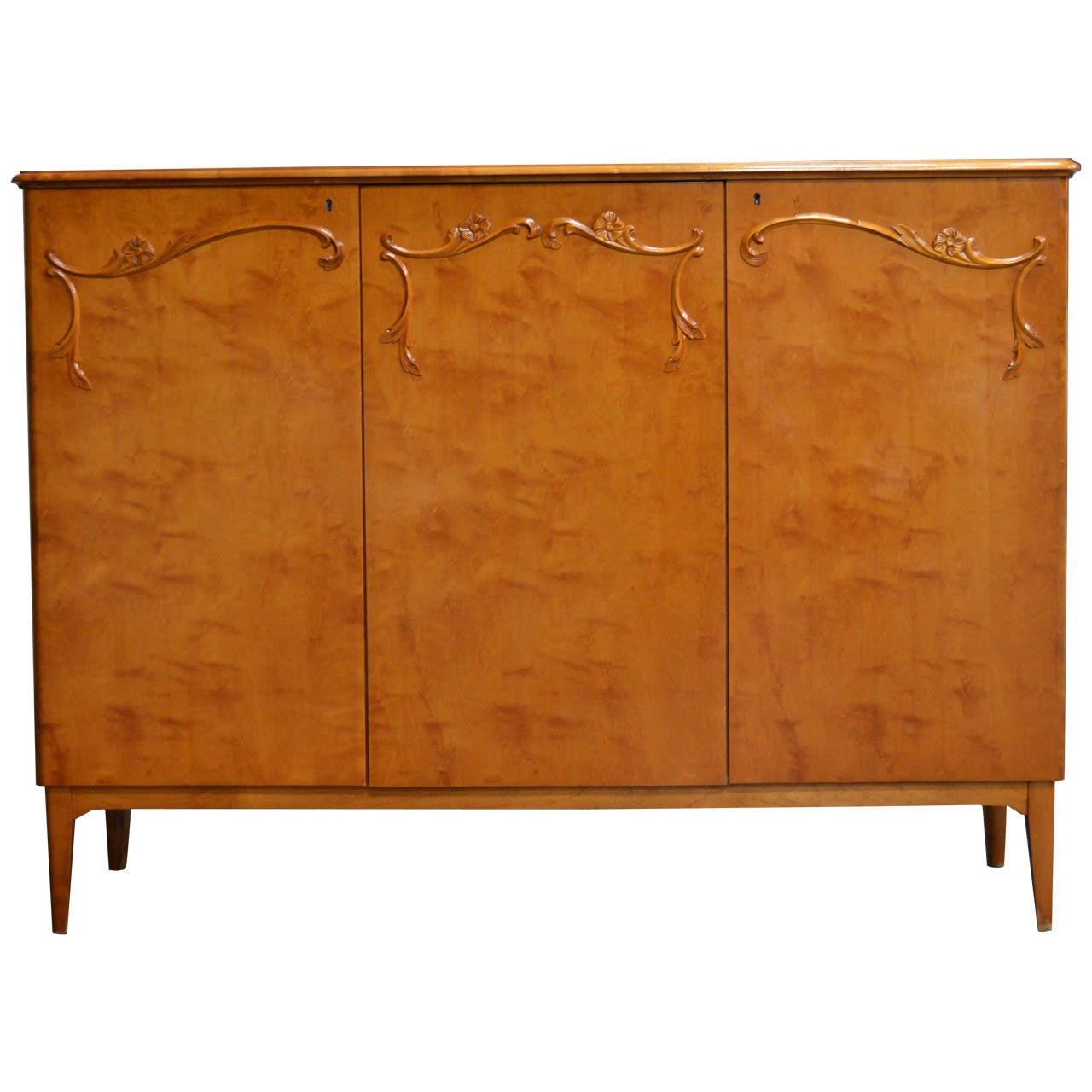 Swedish Art Moderne Three Door Golden Flame Birch Credenza