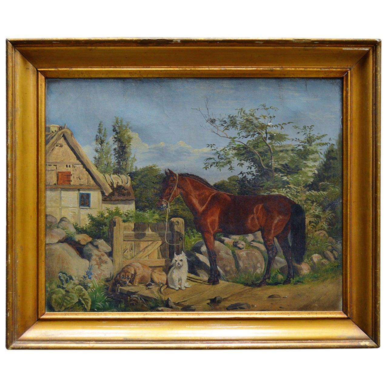 Antique Framed Flemish Equine and Dog Painting