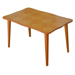 Swedish Scalloped Edge Parquetry Side or End Table