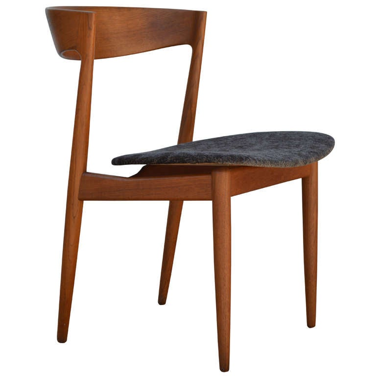 danish mid century modern aerodynamic teak side chair