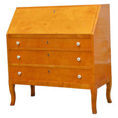 Swedish Art Moderne Golden Flame Birch Drop-Leaf Secretaire Writing Desk