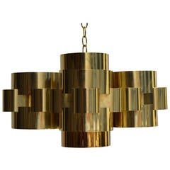 Polished Brass 'Cloud' Form Chandelier by Curtis Jere