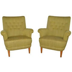 Pair of Vintage Swedish Carl Malmsten Hemmakvall Armchairs
