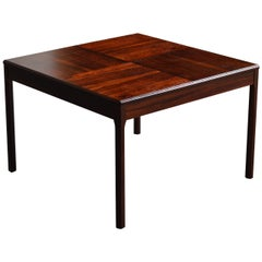 Swedish Midcentury Coffee or Side Table in Rosewood with Parquetry Top
