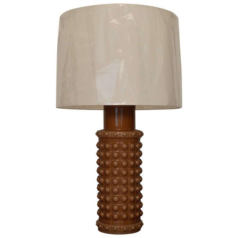 Mid Century Swedish Mocha Glass Table Lamp by Luxus