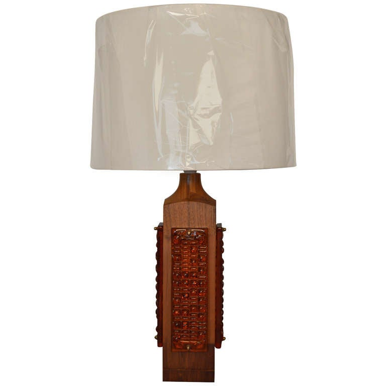 Mid Century Teak And Amber Glass Table Lamp For Sale At 1stdibs