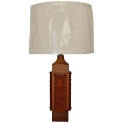 Mid Century Teak and Amber Glass Table Lamp