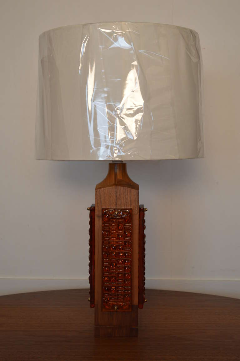 Mid Century Teak and Amber Glass Table Lamp For Sale at ...