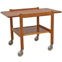 Mid-Century Teak Tea or Bar Cart Serving Trolley