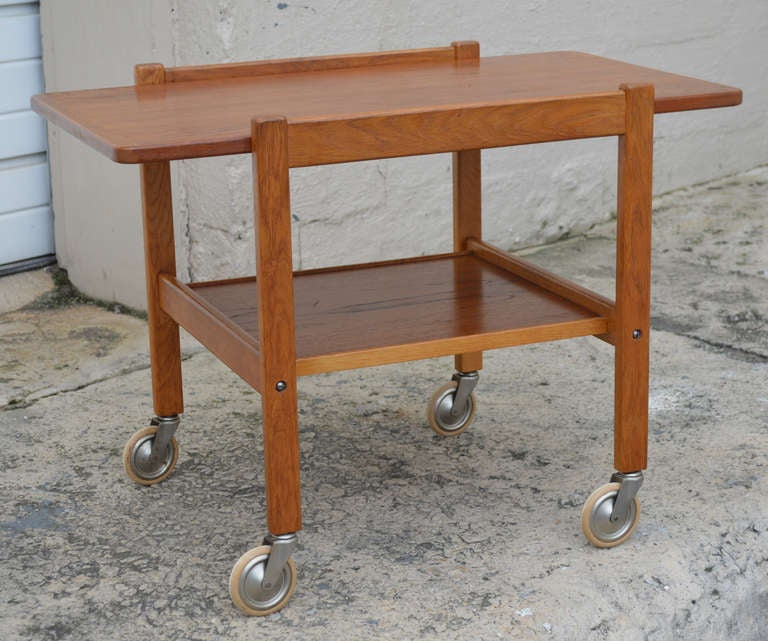 Mid-Century Teak Tea or Bar Cart Serving Trolley 2