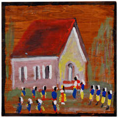 Jimmy Lee Sudduth Signed Original Mixed Media Painting of Schoolhouse