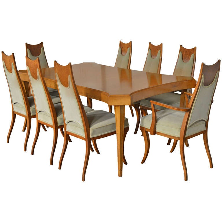 rare italian sabre leg dining set with eight dining chairs at 1stdibs