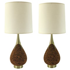 Pair of Laurel Mid-Century Cork and Brass Teardrop Lamps