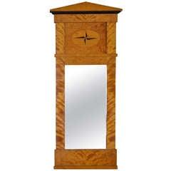 Swedish Flame Birch Biedermeier Mirror With Ebonized Accents
