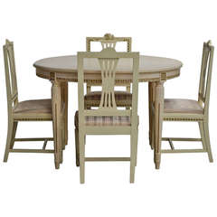 gustavian style dining table and four chairs