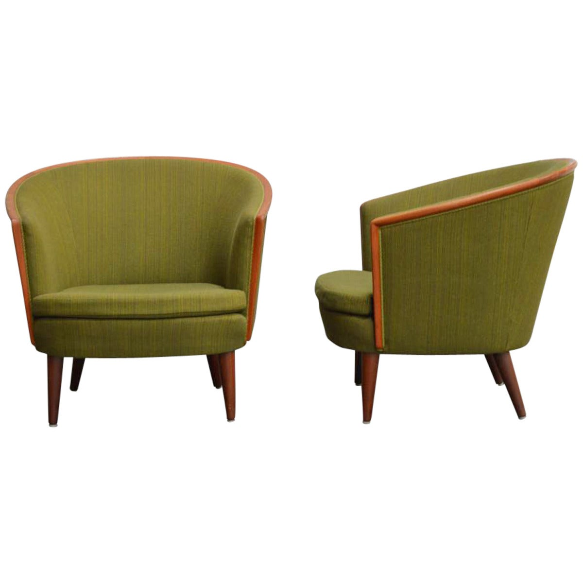 Marvelous Exquisite Rare Pair Of Mid Century Barrel Back Lounge Chairs 1