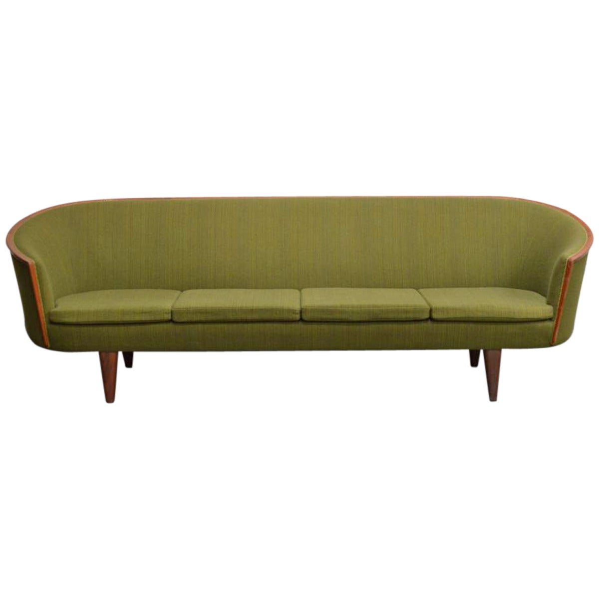 Exquisite Rare Mid-Century Barrel Back Sofa