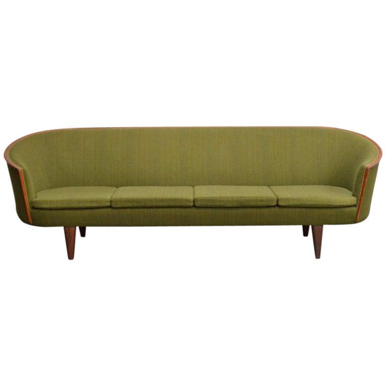 Exquisite Rare Mid-Century Barrel Back Sofa For Sale