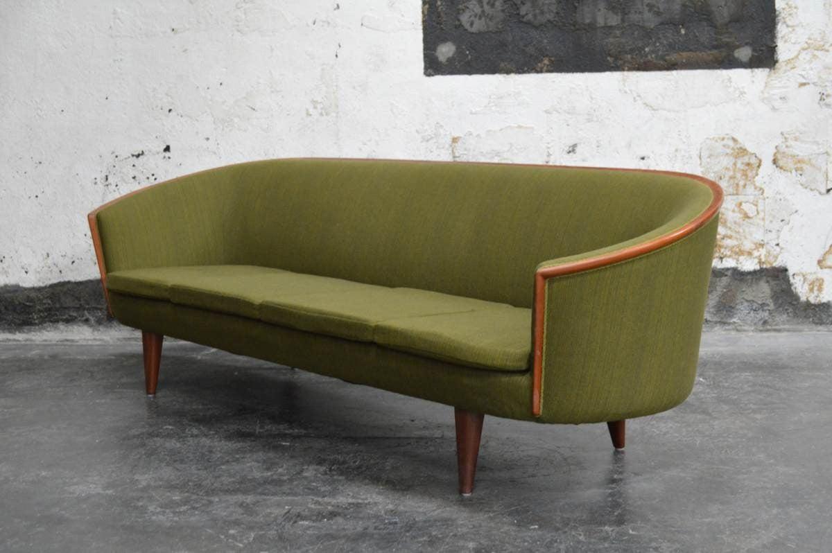 Swedish Exquisite Rare Mid-Century Barrel Back Sofa For Sale