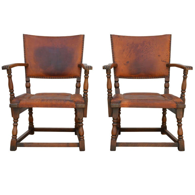 Sale Pair Of 1920 S German Lodge Leather Arm Chairs With