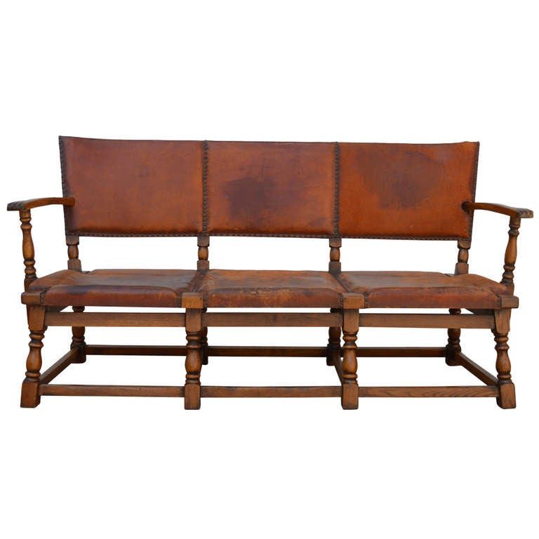 SALE 1920 s German Lodge Leather Sofa with Original