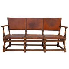 *SALE* 1920's German Lodge Leather Sofa with Original Saddle Leather