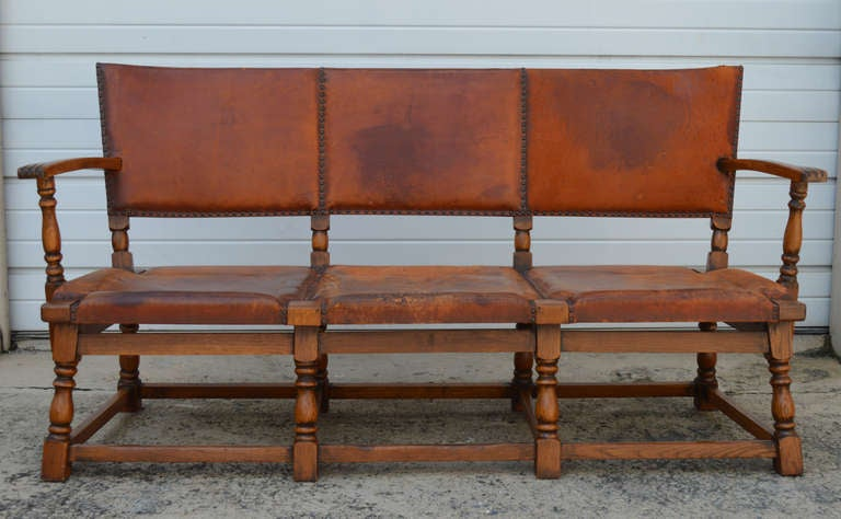 *SALE* 1920u0027s German Lodge Leather Sofa With Original Saddle Leather 2