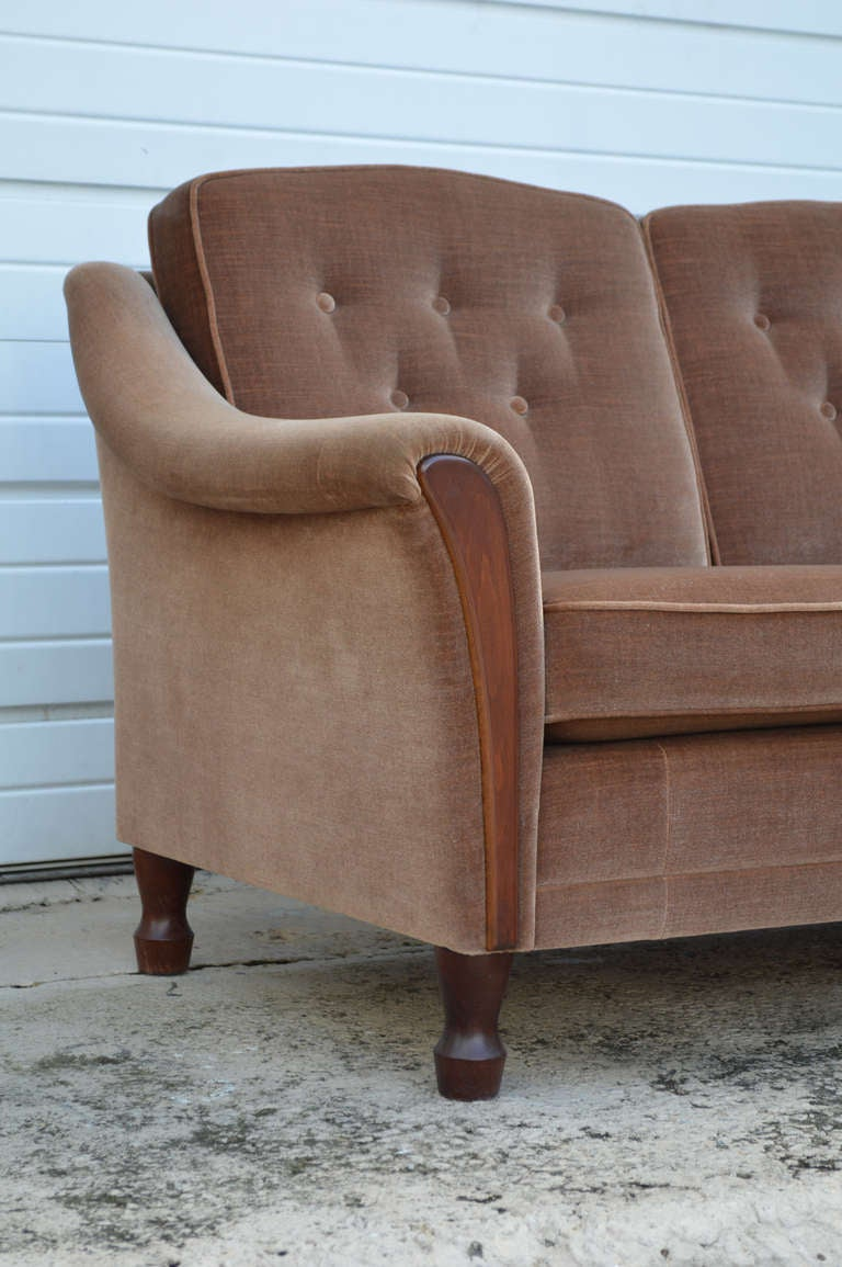 Vintage Tailored Mohair Velvet Sofa With Flared Arms And Button Tufting For  Sale 1