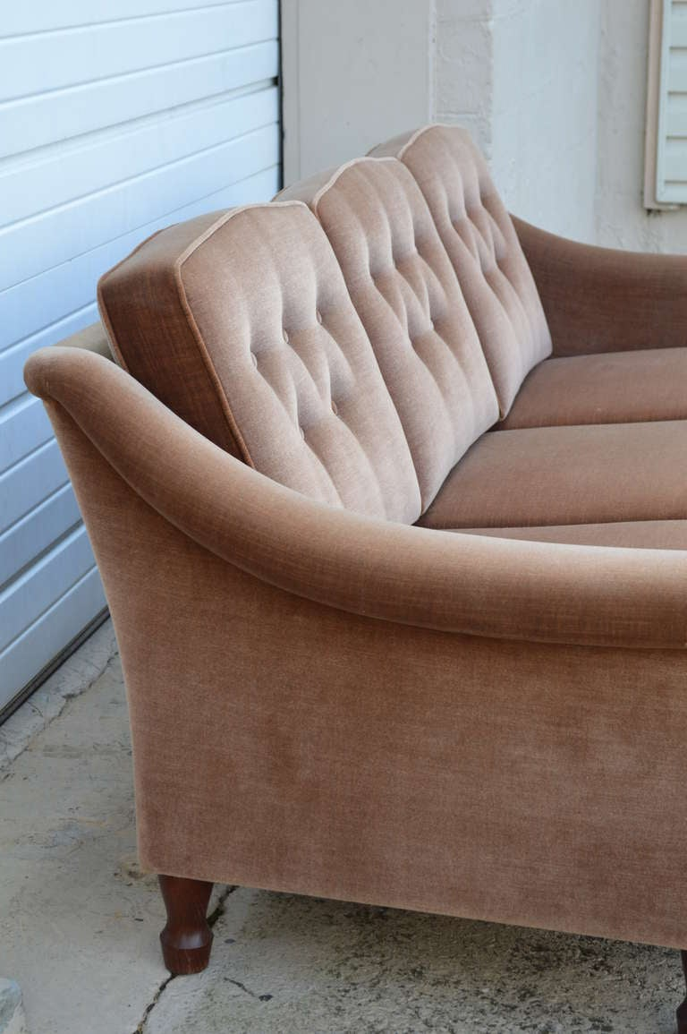 Scandinavian Modern Vintage Tailored Mohair Velvet Sofa With Flared Arms And On Tufting For