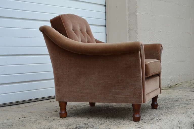Vintage Tailored Mohair Velvet Chairs With Flared Arms And