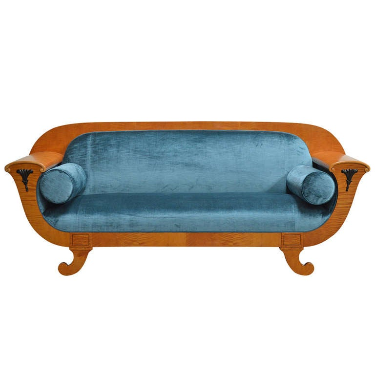 Antique biedermeier revival sofa upolstered in jim thompson silk velvet at 1stdibs Biedermeier sofa
