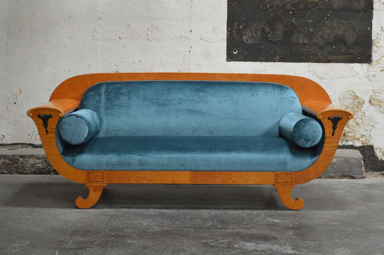 Antique Biedermeier Revival Sofa Upolstered in Jim Thompson Silk Velvet 2