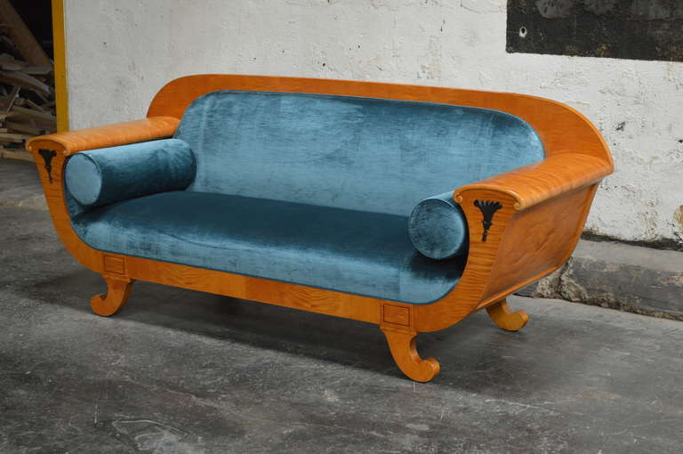Antique Biedermeier Revival Sofa Upolstered in Jim Thompson Silk Velvet 3